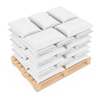 Pile de sac en papier vierge sur palette en bois sur fond blanc. rendu 3d.