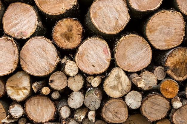 Pile soigneusement empilée de troncs hachés à l'extérieur par une belle journée ensoleillée, fond abstrait, bûches de bois de feu préparées pour l'hiver, prêtes à être brûlées. concept de protection de l'environnement.