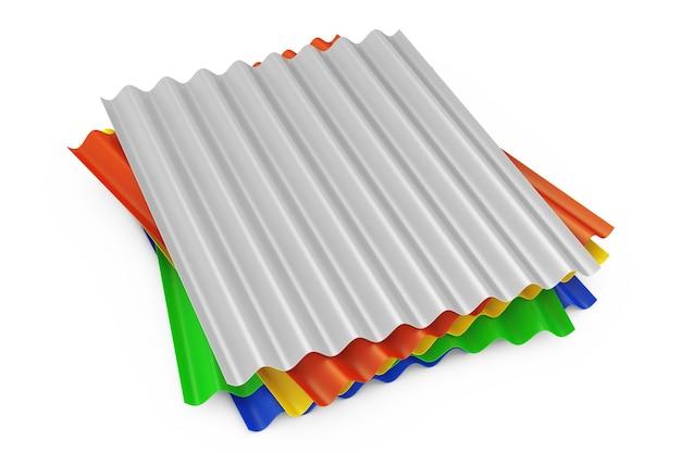 Pile de tôles ondulées en métal de couleur acier galvanisé pour toit sur fond blanc. rendu 3d
