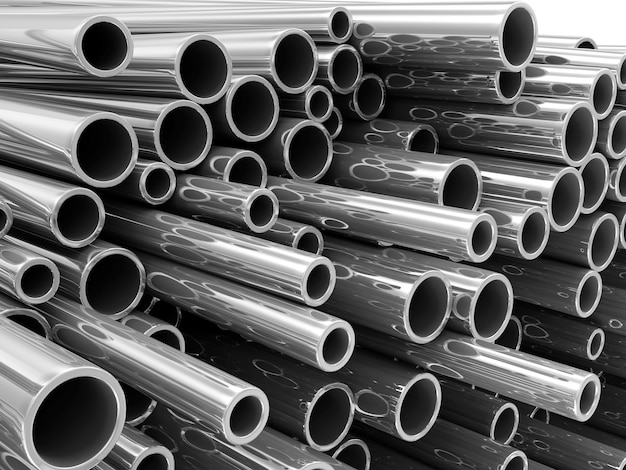 Pile de tubes métalliques en acier