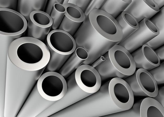 Pile de tubes métalliques. rendu 3d...