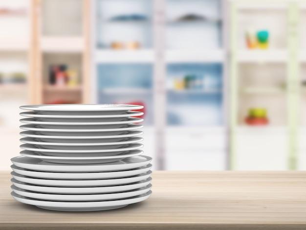 Pile de vaisselle de rendu 3d avec fond de cuisine