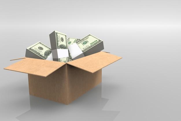 Piles de billets de 100 dollars américains dans une boîte de papier brun ouverte sur fond gris.