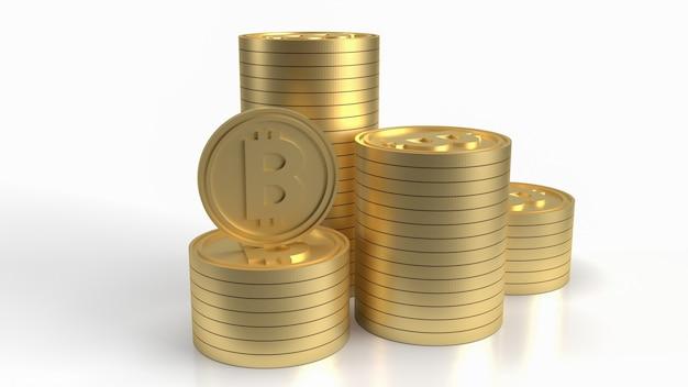 Les piles de bitcoins sur blanc