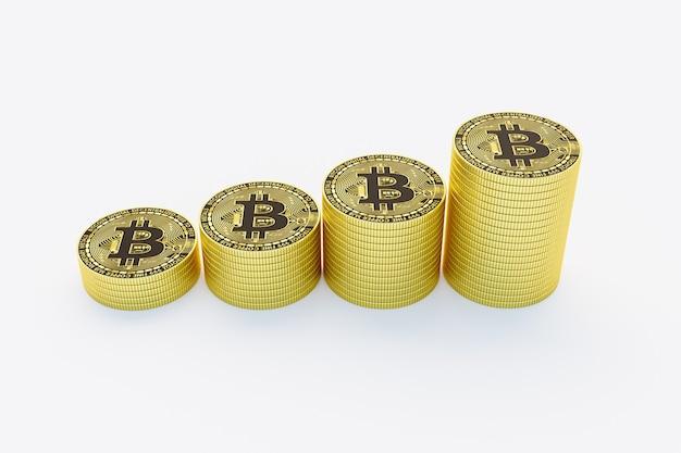 Piles de bitcoins dorés