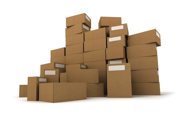 Des piles de boîtes en carton sur une surface blanche