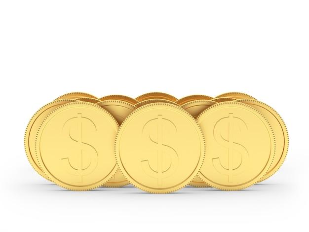 Des piles de pièces d'un dollar en or