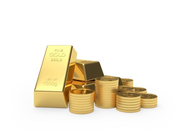 Des piles de pièces de monnaie bitcoin et de lingots d'or