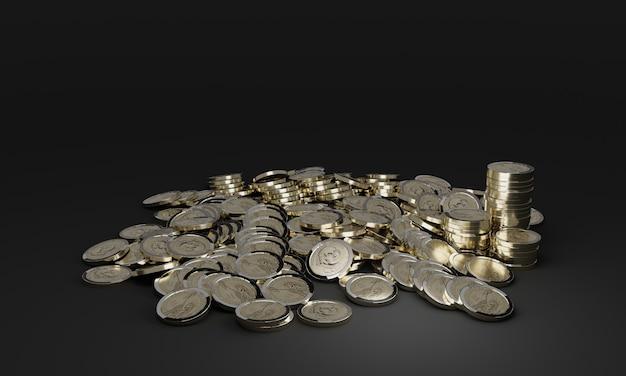 Des piles de pièces d'or brillantes.