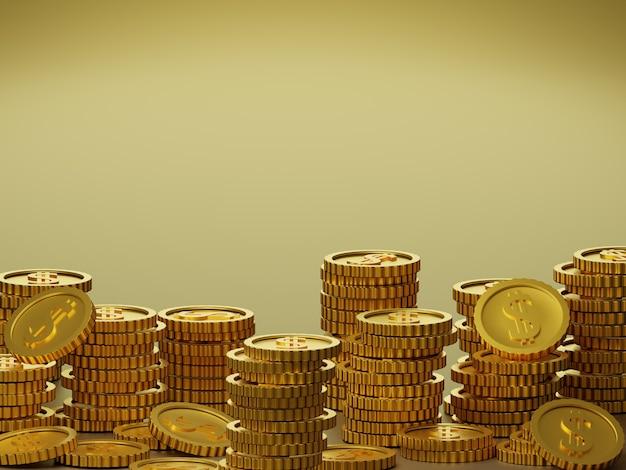 Des piles de pièces d'or sur fond jaune or