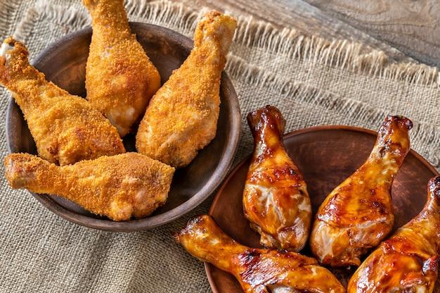 Pilons de poulet panés et grillés