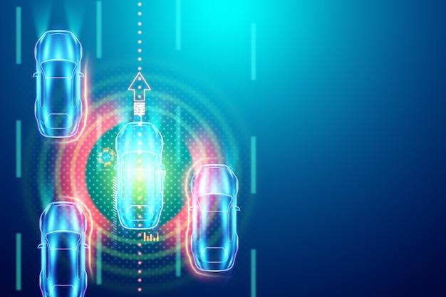 Pilote automatique, la vue de dessus de la voiture détecte automatiquement la route. illustration 3d, rendu 3d. hologramme, copiez l'espace.