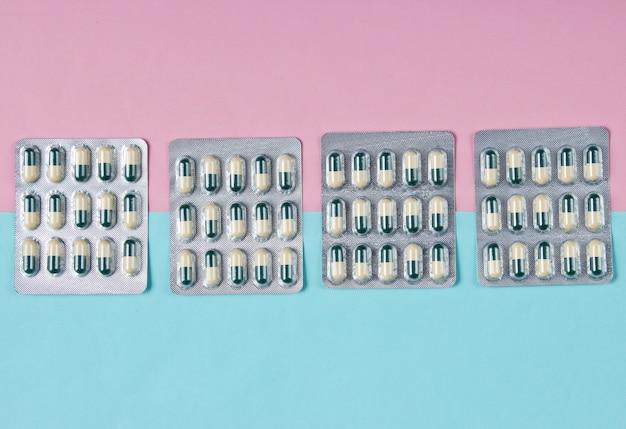 Pilules ampoules. vue de dessus.