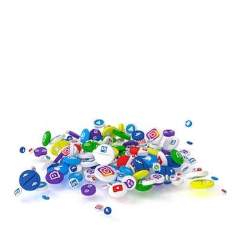 Des pilules de différents types et tailles portant le logo des réseaux sociaux les plus célèbres.
