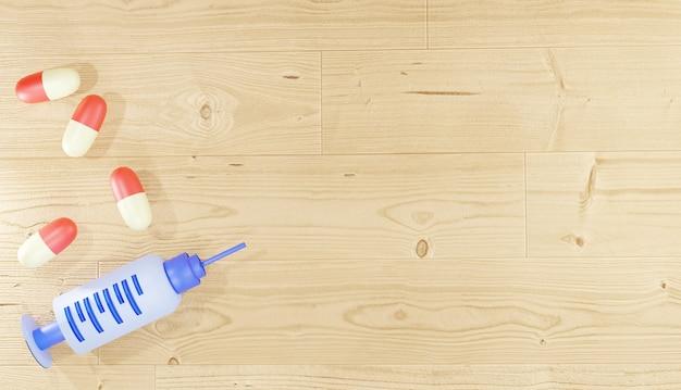 Pilules et injections de médecine de rendu de fond 3d sur le plancher en bois pour la pharmacie de pages web