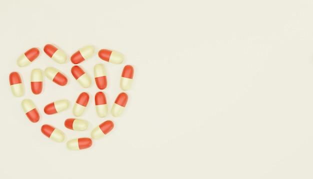 Pilules de médecine de rendu d'arrière-plan 3d disposées comme un cœur pour le thème de la pharmacie des pages web