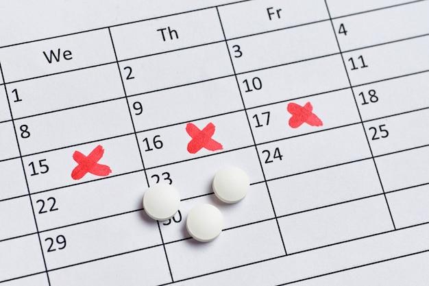 Pilules pour la douleur pendant le syndrome prémenstruel sur le calendrier.
