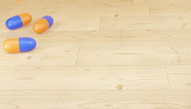 Pilules de rendu de fond 3d éparpillées sur le plancher en bois pour le thème de la pharmacie des pages web