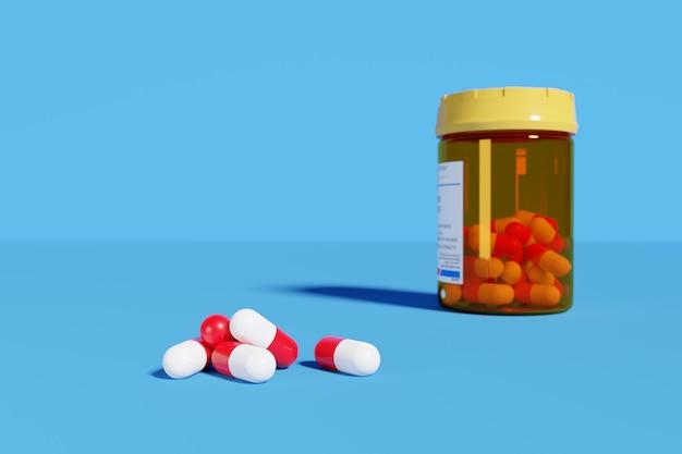 Pilules rouges et blanches à côté du flacon de pilules isolé sur bleu.