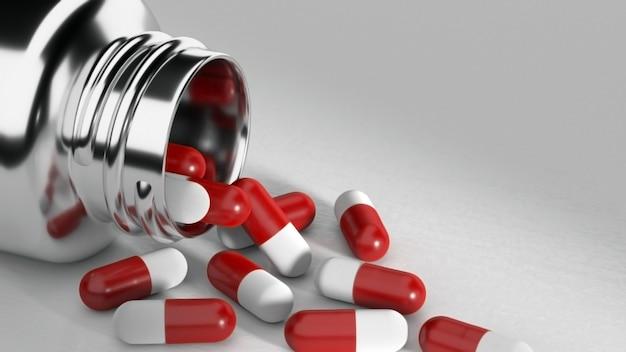 Pilules et seringues sur fond blanc. rendu 3d.
