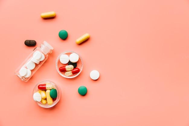 Pilules vue de dessus