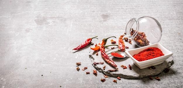 Piment rouge moulu dans un bol et cuillère sur pied en pierre sur table en pierre.
