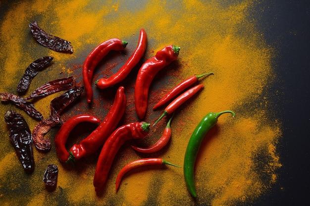 Piments frais et séchés, épices pour la cuisine