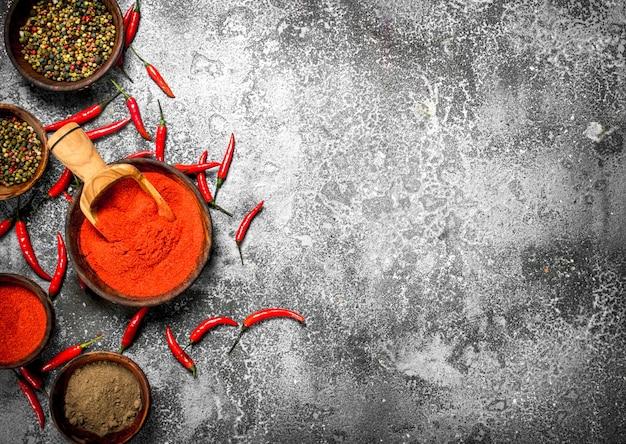 Piments rouges chauds moulus dans un bol