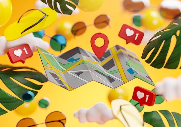 Pin point carte été fond jaune concept rendu 3d