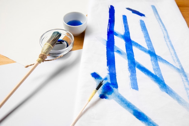 Pinceau bleu alternatif haute vue