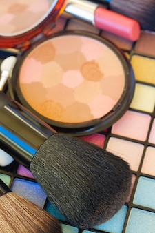 Pinceaux doux avec des cosmétiques de maquillage décoratifs