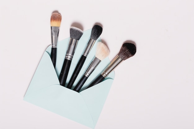 Pinceaux de maquillage dans le paquet