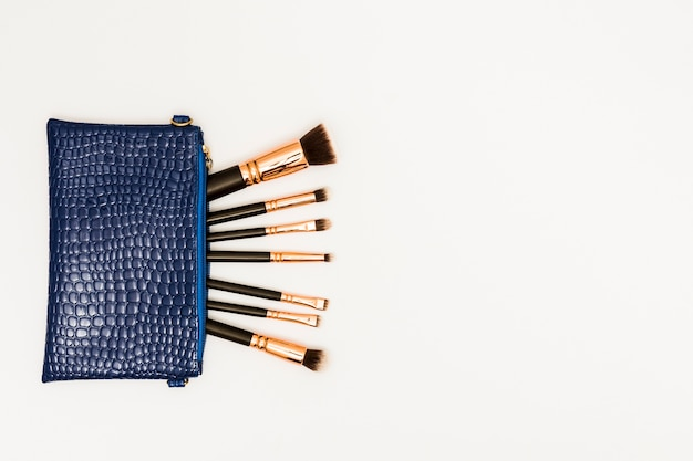 Pinceaux de maquillage dans le sac bleu sur fond blanc