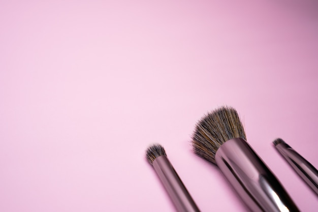 Pinceaux de maquillage professionnels avec manche en argent. concept pour la beauté et le visage cosmétique