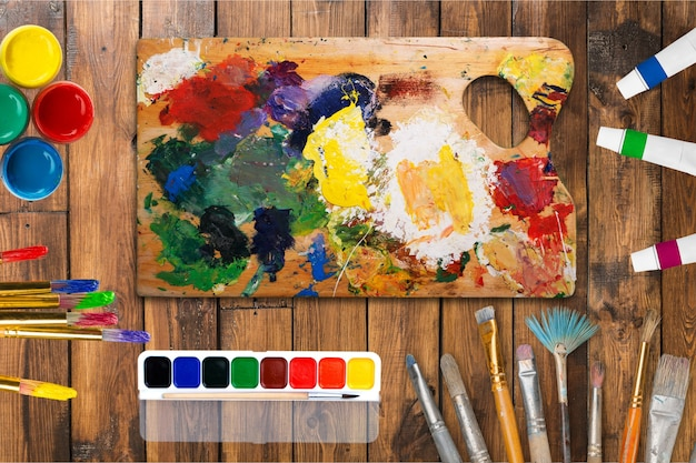 Pinceaux et peinture d'artiste. art de la peinture