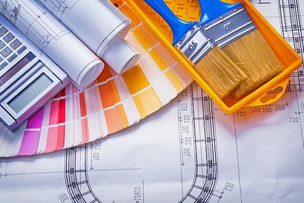 Pinceaux peinture peut plans calculatrice palette de couleurs concept de construction