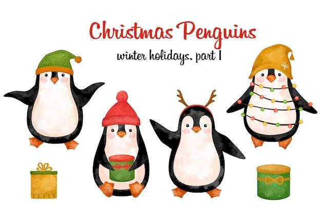 Pingouins de noël en clipart chapeau, décoration d'animaux drôles de nouvel an, décor mignon, imprimable