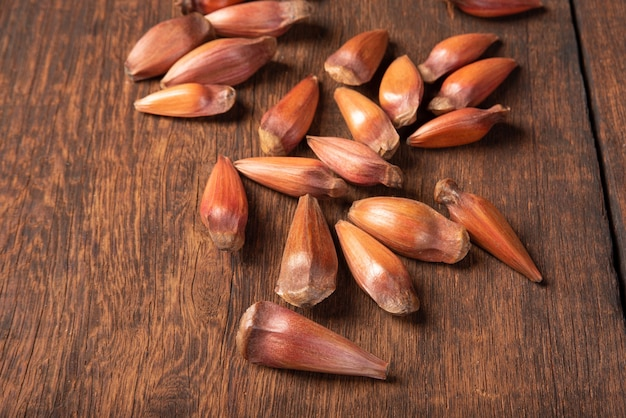 Pinhao, pignon, pin, araucaria brésilien, sur bois rustique, mise au point sélective