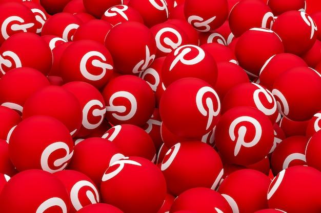 Pinterest logo emoji rendu 3d sur fond transparent, symbole de ballon de médias sociaux avec pinterest