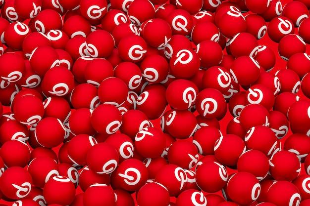 Pinterest logo emoji rendu 3d symbole de ballon de médias sociaux avec pinterest
