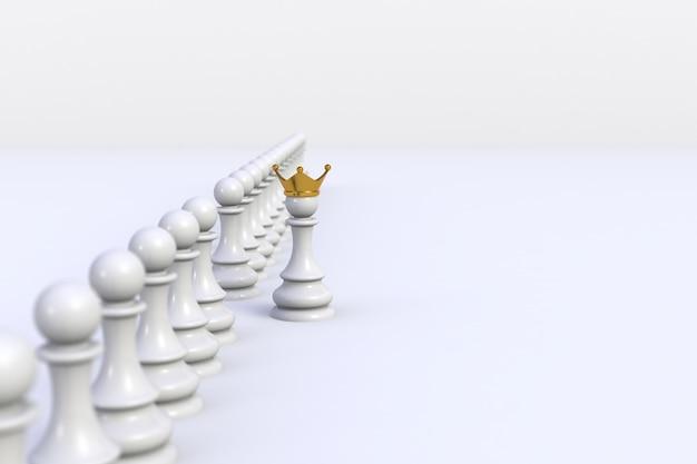 Pion blanc d'échecs se démarquant de la foule sur blanc