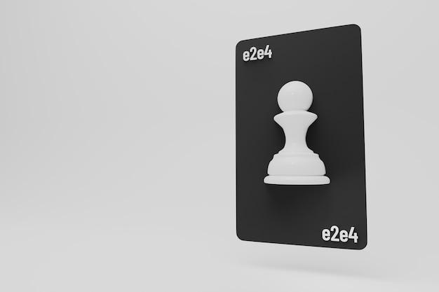 Pion d'échecs sur carte à jouer avec signe premier mouvement étape concept de début illustration 3d