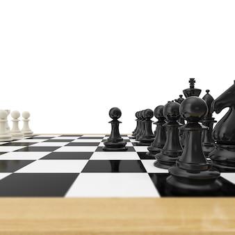 Pion réaliste restant contre un ensemble complet de pièces d'échecs.