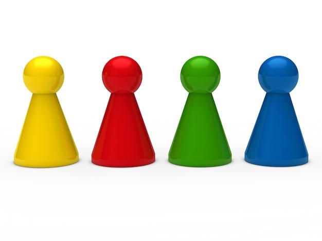 Pions d'échecs couleurs placées dans la rangée