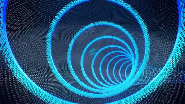 Pipe, long tunnel sombre avec rendu futuriste de la lumière 3d