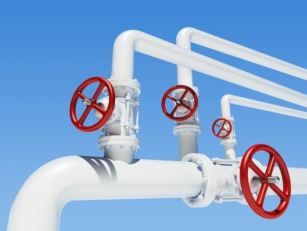 Pipeline métallique avec vannes rouges
