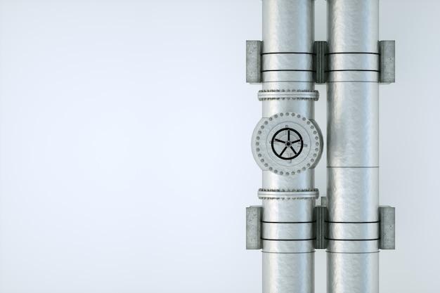 Le pipeline sur un mur léger, le transport du pétrole et du gaz par des tuyaux. technologie, politique, matières premières, économie. copiez l'espace. rendu 3d, illustration 3d.