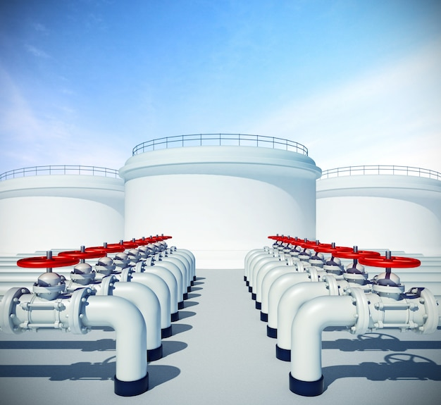 Pipeline avec valve rouge. stockages industriels de carburant ou d'huile sur l'arrière-plan