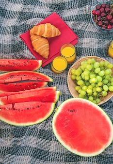 Pique-nique dans la nature fruits et pastèque