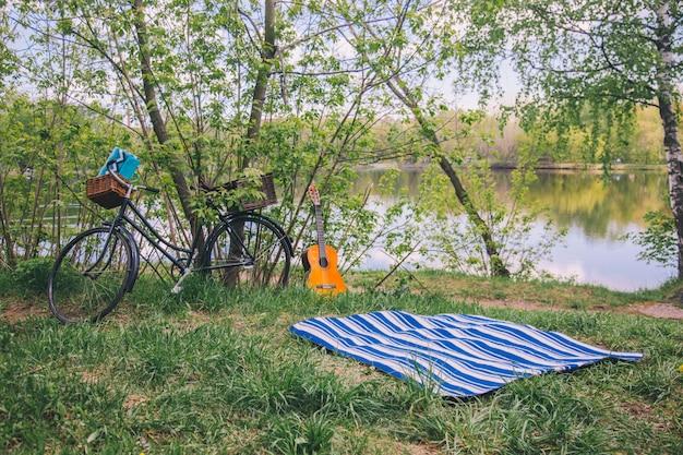 Pique-nique estival dans les bois avec une couverture, un vélo et une guitare.